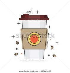 Disposable coffee cup icon with coffee beans, conceptual vector illustration in flat liner design. Paper coffee cup isolated on white background. Coffee stock vector