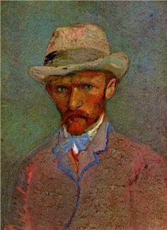 Self Portrait with Gray Felt Hat - Vincent Van Gough