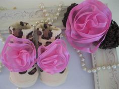 Leopard and Pink Baby socks and Matching Headband by LovCouture, $19.00