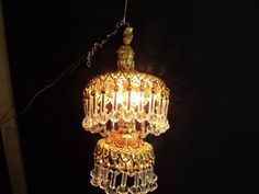 DOLLHOUSE HAND CRAFTED CRYSTAL CHANDELIER/ ELECTRIC