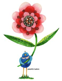 Red Wonder Flower With Birdie. Jennifer Lambein