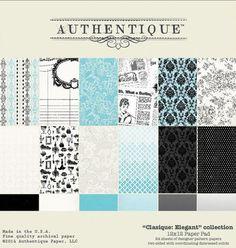 """Authentique - Classique Elegant Collection - 12""""x12"""" Paper Pad ,$19.99"""