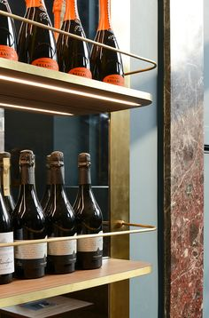 Designed by Milanese practice rgastudio, Caffè Fernanda is part of a larger project to redesign the Pinacoteca di Brera and its collection in Milan. Wine Display, Bottle Display, Shelving Design, Shelf Design, Cafe Restaurant, Restaurant Design, Restaurant Shelving, Hotel Minibar, Museum Cafe