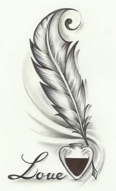Feather drawing, feather tattoo design и tattoo drawings. Feather Drawing, Feather Tattoo Design, Feather Tattoos, Body Art Tattoos, Feather Sketch, Heart Tattoo Designs, Tatoos, Pencil Art Drawings, Easy Drawings