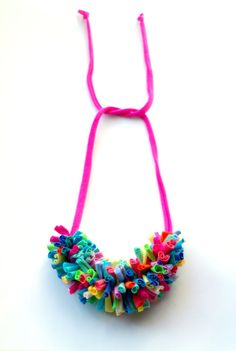 Chenille necklace pink/neon by cirrhopp on Etsy