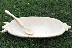 wood plate & spoon