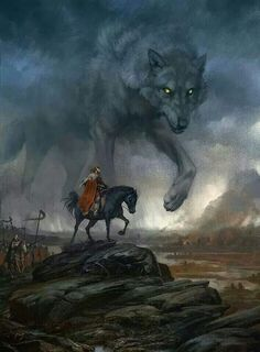 On the Nemiga River by Jortagul | Digital Art / Drawings & Paintings | The Mystery of Tyr and Fenrir | North Germanic/Norse Mythology | http://en.wikipedia.org/wiki/T%C3%BDr | http://en.wikipedia.org/wiki/Fenrir