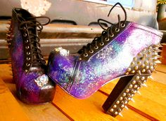 Pyschobilly Intergalactic Planetary Spiked Boots Heels - Booties