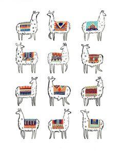 llama love llama Llamarama Print by CactusClub