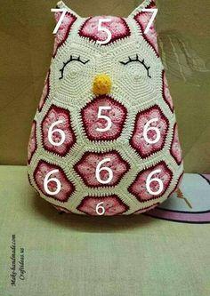 Afrikan kukka ohje numeroitu pöllö kulmiot virkattu virkkaus Crochet cute owl of african hexagone