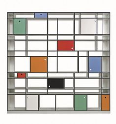 Une bibliothèque arty pour avoir un Mondrian chez soi - 16 bibliothèques design au top - CôtéMaison.fr