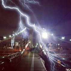 New York City Photos - Lightning On The Brookyn Bridge