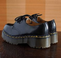 Dr Martens black platform shoes UNIQUE made in England vintage