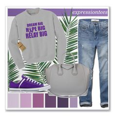 Dream big, hope big, relay big! by expressiontees on Polyvore featuring polyvore fashion style Abercrombie & Fitch Converse Givenchy Nika clothing purple grey Sweatshirt adult SupportCancer
