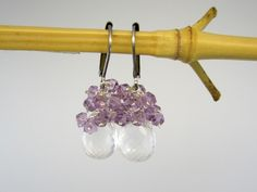 CRYSTAL QUARTZ, AMETHYST, STERLING EARRINGS -- ONE-OF-A-KIND (F910) - Components: Fine quartz crystal, lavender amethyst, sterling silver, and hypo-allergenic surgical steel leverback earwire (can be upgraded