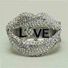 "7"" love crystal stretch bracelet bangle cuff 2.25"" wide"
