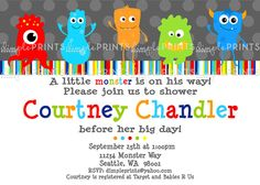 Little Monster Printable Invite Birthday or Baby Shower Invitation by DimplePrints