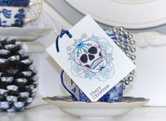 Frosted blue rose Day of the Dead sugar skull tattoo handmade set of 3 Christmas gift tags