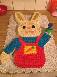 Harry the bunny cake Bunny Birthday Cake, Baby First Birthday Cake, Kids Birthday Themes, First Birthday Parties, First Birthdays, Harry The Bunny, Baby First Tv, Bunny Cupcakes, Sesame Street Birthday