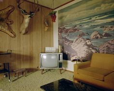 Stephen Shore, 1973. Love the wall print/ mural and the couch!