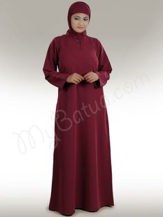 Beautiful Maroon Party Wear Abaya| MyBatua.com   Natasha Maroon  Abaya!   Style No: Ay-207m   Shopping Link :  http://www.mybatua.com/natasha-abaya Available Sizes XS to 7XL (size chart: http://www.mybatua.com/size-chart/#ABAYA/JILBAB)   •	A-line abaya with round neck. •	Front open placket with metal titch button closure. •	Utility side pockets. •	Matching sleeve. •	Matching Hijab and Band can be bought separately •	Fabric: Kashibo (polyester)