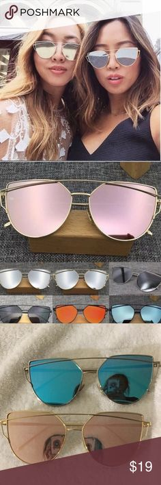 New KYLIE Mirrored Cat Eye Reflective Sunglasses Protect your eyes with this gorgeous trendy cat eye mirrored sunglasses. Unbranded. Available in rose gold and blue lens.rose gold have a gold frame and the blue lens have a silver frame. THIS LISTING IS FOR THE PINK LENS Accessories Sunglasses