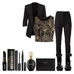"""""""Black/Gold"""" by ntonkovic ❤ liked on Polyvore featuring Karl Lagerfeld, Yves Saint Laurent, Parisian, NYX, Forever 21, Chanel, Marc Jacobs and Roberto Cavalli"""