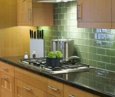 Modern Single Line kitchen, maple/beach cabinets, GREEN SUBWAY TILE!