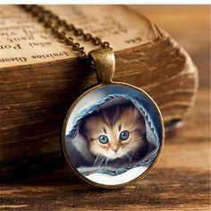 여름 스타일 유리 카보 숑 펜던트 목걸이 귀여운 고양이 예술 사진 패션 보석 빈티지 청동 체인 목걸이 여성 선물