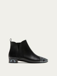 CONTRASTING ANIMAL PRINT LEATHER ANKLE BOOTS - Women - Massimo Dutti