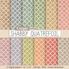 "Quatrefoil digital paper: ""SHABBY QUATREFOIL"" shabby digital paper pack with dirty / old / vintage / shabby quatrefoil pattern backgrounds"