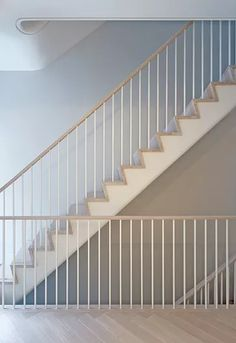 Architecture and interiors with a spare elegance and a quiet intensity. Stairway Railing Ideas, Staircase Railing Design, Modern Stair Railing, House Staircase, Staircase Remodel, Modern Stairs, Staircase Contemporary, Miller Homes, Interior Stairs