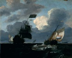Marine ~ attributed to Ludolph Backhuysen (or Ludolf Bakhuizen, 1630-1708), oil on wood panel <3  http://en.wikipedia.org/wiki/Ludolf_Backhuysen