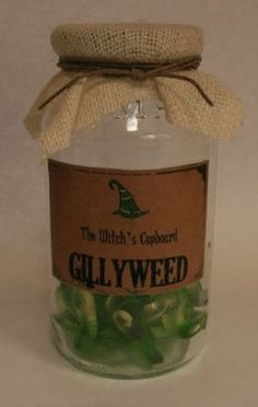 A Bunch of Green gummy worms + label/jar lid cover; Gillyweed Potion Jar Harry Potter Party Decoration. $12.00, via Etsy.