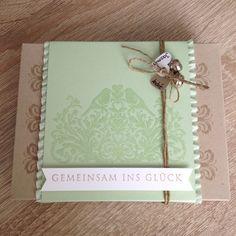 Kleine Geschenkverpackung zur Hochzeit mit Stampin up Stempel von heute an,Pistazie und Savanne