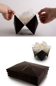 An origami microwave popcorn design that folds out into a bowl.