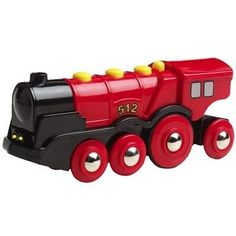 BRIO Mighty Red Locomotive by BRIO. $24.99. Features the new autos stops or start function. Features with two headlights and the sound of an authentic steam locomotive. Features three chimney shaped buttons that activate forward and backward motion. For ages 3+ years. Amazon.com                Here you have it: the little engine that could. It's a fiery red choo-choo with shining wheels and glossy black trim--a locomotive that will get even the most stubborn loads up...