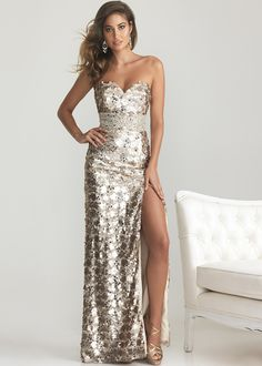 Night Moves 6755 - Light Gold Strapless Sequin Evening Gown, Prom Dresses 2013 - RissyRoos.com
