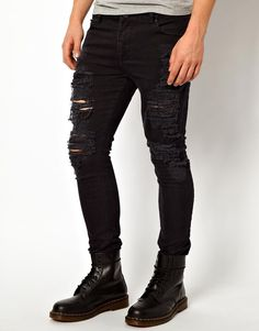 $63, Black Skinny Jeans: Asos Brand Super Skinny Jeans With Extreme Rips. Sold by Asos. Click for more info: http://lookastic.com/men/shop_items/24543/redirect