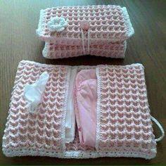 Crochet pink bag