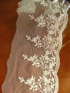 off white lace fabric, retro embroidered lace fabric, tulle lace trim, gauze lace, vintage scalloped lace, one yard