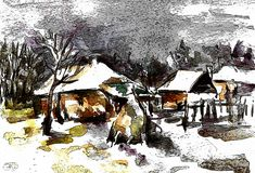 Winter Painting - Winter In The Country by Cuiava Laurentiu Winter Painting, Country Paintings, Fine Art America, Moose Art, Greeting Cards, Wall Art, Animals, Animales, Animaux