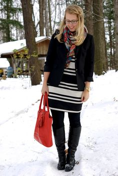 blazer + striped dress + plaid scarf + boots / franish