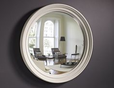 Our large Roma convex mirror is subtly refined with its rounded frame and stepped curvatures. Perfect above a mantle, in a hallway or alcove, this mirror will add instant polish to any style of interior. This frame. Extra Large Mirrors, Small Round Mirrors, Full Length Mirror Design, Mirror Above Fireplace, Walnut Wood Color, Convex Mirror, Round Design, Leaf Design, Virginia Homes
