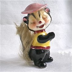 Smiling, Skunk , Vintage, Animal, Fur, Ceramic , Figurine , Japan,1960s