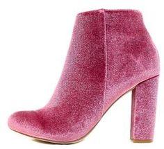 Mauve Almond Toe Velvet Chunky Heel Ankle Boot