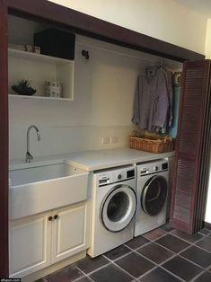 Laundry Room Remodel, Basement Laundry, Laundry Room Shelves, Farmhouse Laundry Room, Laundry Closet, Laundry Storage, Laundry Room Organization, Small Laundry Rooms, Laundry Room Design