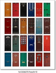 Free art print of Isolated front doors. A collection of residential front doors good for estate agents and symbolizing opening new doors Front Door Paint Colors, Painted Front Doors, Front Door Decor, House Paint Exterior, Exterior Paint Colors, Exterior House Colors, Old Doors, Entry Doors, House Paint Color Combination