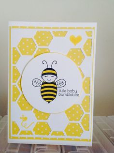 A cute card made with bumblebee baby stamp