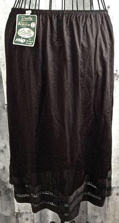 Vintage Bradley Slip Skirt Lingerie Brown Lace Trim Adjustable Length Large NWT…